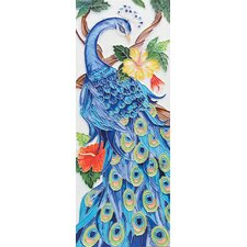 "16"" x 6"" Peacock Art Tile in Blue"