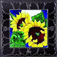 "<strong>En Vogue</strong> 12"" x 12"" Frame - Sunflowers Art Tile in Multi"