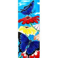 "16"" x 6"" Blue Butterflies with Colorful Flowers Art Tile"