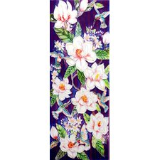 "16"" x 6"" Flowers Art Tile in White"