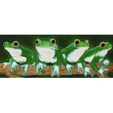 "<strong>En Vogue</strong> 16"" x 6"" Four Frogs Art Tile in Green"