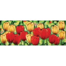 "16"" x 6"" Tulips Art Tile in Multi"