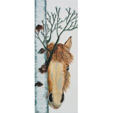 "16"" x 6"" Horse Art Tile in Multi"
