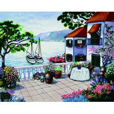 "14"" x 11"" Veranda and Sailboats Art Tile in Multi"