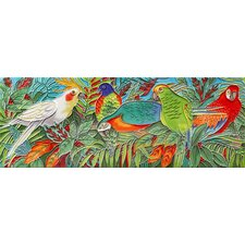 "16"" x 6"" Parrot Forest Art Tile in Multi"