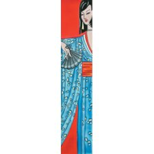"16"" x 3"" Japanese in Blue Kimono Art Tile in Multi"