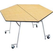 Mobile Folding Cafeteria  Adjustable Height Hexagon Table