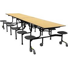 Mobile Folding Cafeteria 12 Stool Table