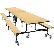 Mobile Folding Cafeteria Bench Table