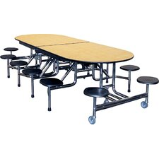 Mobile Folding Cafeteria Elongated 12 Stool Table
