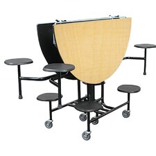 Mobile Folding Cafeteria Shaped Table with Surround Seating