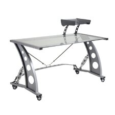 Racing Style Computer Desk with Glass Top and Glass Spoiler Shelf