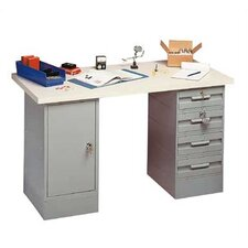 Modular Work Benches - Steel Top, 4 Drawers, 1 Cabinet