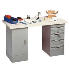 Modular Work Benches - Plastic Laminate Top with White Leather, 2 Cabinets