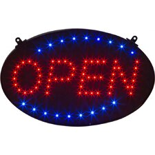 "18"" x 10"" Circular Open LED Business Sign and Light with Hanging Chain"