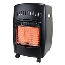 Portable 18,000-BTU Gas Powered Radiant Cabinet Heater with Locking Casters and Piezo Ignition
