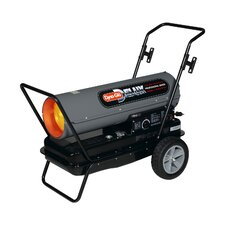 Portable 125,000-BTU Multi-Fuel Forced Air Heater with Flat-Free Wheels