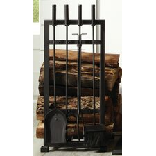 4 Piece Harper Fireplace Log Holder and Toolset