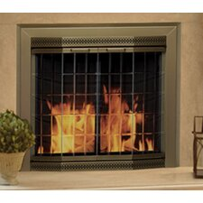 Grandior Bay Fireplace Screen and Bi-Fold Track-Free Elegant Clear Glass Door