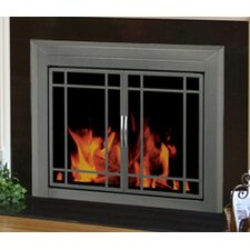 <strong>Pleasant Hearth</strong> Edinburg Prairie Cabinet Style Fireplace Screen and 9-Pane Smoked Glass Door