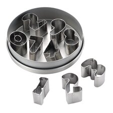 9-Piece Stainless Steel Number Fondant and Cookie Cutter Set