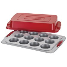Deluxe 12 Cup Nonstick Bakeware Covered Muffin Pan