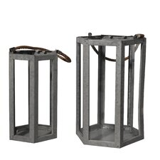 2 Pieces Metal Lantern Set