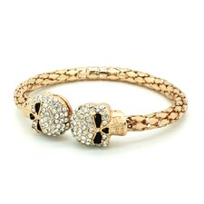 <strong>Jordan and Taylor</strong> Skull Rhinestone Bangle Bracelet