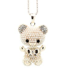 <strong>Jordan and Taylor</strong> Teddy Bear Rhinestone Necklace