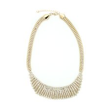 Rhinestone Chain Link Bib Necklace