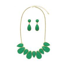 Emerald Bib Necklace and Earrings Set