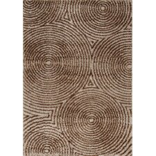 Boulevard Glitz Low Pile Radical Brown Circles Rug