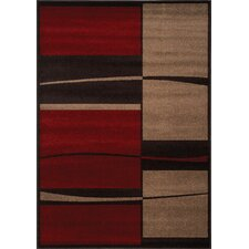 <strong>Kalora</strong> Casa Red Squares and Waves Rug