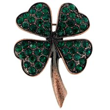 Lucky 4 Leaf Clover Crystal Brooch