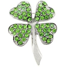4 Leaf Clover Flower Crystal Brooch