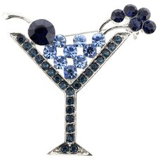 Martini Glass Crystal Brooch