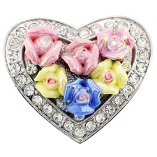 Mother's Day and Valentine Heart Crystal Brooch