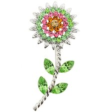 Sunflower Crystal Brooch
