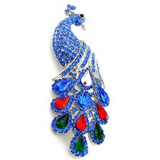 Peacock Crystal Brooch