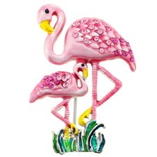 Mother and Baby Flamingo Crystal Brooch