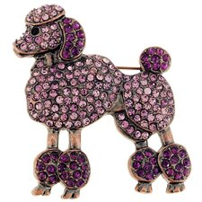 Poodle Animal Crystal Brooch
