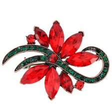 Christmas Poinsettia Flower Crystal Brooch