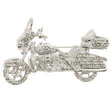 Harley Davidson Motorcycle Sports Crystal Brooch