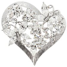 Siam Butterfly Heart Fashion Crystal Brooch