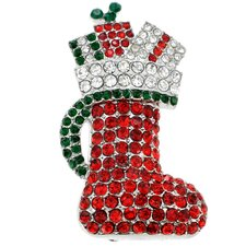 Christmas Stocking Crystal Brooch