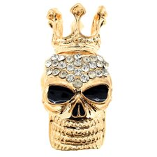 Skull with Crown Fashion Crystal Pin Brooch