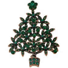<strong>Fantasyard</strong> Emerald Flower Cutout Christmas Crystal Brooch