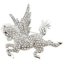 Crystal Flying Horse Animal Crystal Brooch