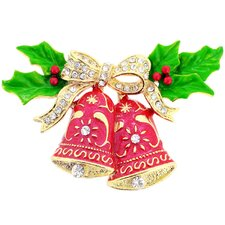 Christmas Bells with Bow and Holly Crystal Brooch