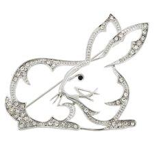 King Hare Rabbit Animal Crystal Brooch